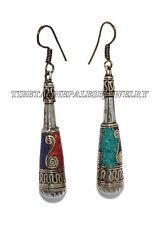 Turquoise Earring Tribal Earring Coral Earring Lapis Earring Brass Earring Boho