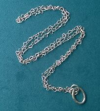 "LONG NECKLACE 29"" 925 STERLING SILVER HEARTS DONUT CLASP FOR PENDANTS"