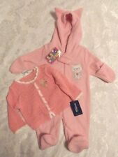 Genuine Baby Girls Pink Knitted Sweater & Mon Petit Fleece Jumpsuit Size NB-6mts