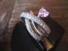 moderner vintage Designer Ring Cocktailring 925er Silber Zirkonia Herz in Pink