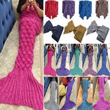 Mermaid Tail Soft Blanket Handmade Crocheted Knit Cocoon Sofa Warm Adults Kids