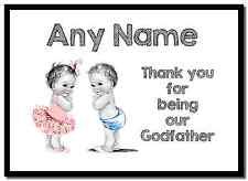 Baby boy & girl twin parrain merci personnalisé napperon