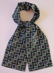 """Soft Silk cravat in green & blue 39"""" X 5"""" Hand made"""