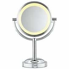 Conair Makeup Mirror Double Sided Battery Lighted 5x Magnifying Polished Chrome