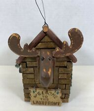 Log cabin bird house Moose Head Welcome To The Lakefront Fishing Pole Trees