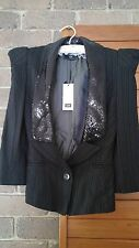 CUE detachable sequins collar Jacket size 6 $299 NWT