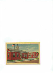 post card Post Office and Makepeace Building Wareham Mass unused