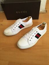 Gucci  California  White Canvas Trainer Web Sneakers Shoes Uk 8, Made  In Italy