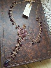 """Monet"" Amethyst Style Longer Length Flower Cluster & BrioletteDrop Necklace"