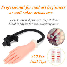 Adjustable Practice Nail Art Trainer Training Hand Model Acrylic Gel + 500 Tips