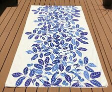 One IKEA Blad Stockholm Curtain Blue Leaves Lined 55 x 97 Linen Cotton Blend