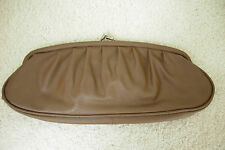 MARKS AND SPENCER M&S BROWN TEXTURED FAUX LEATHER CLUTCH BAG & METAL CLASP