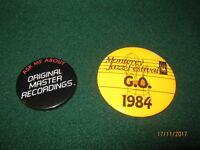 "VTG Monterey Jazz Festival ""USHER"" Button Pins (2) ""1984"""