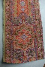 "Lovely length antique c1850 woven wool paisley Crinoline shawl border - 80"" long"