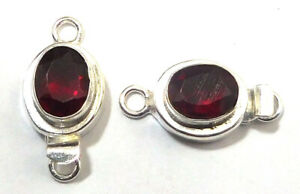 1 PC OVAL RED GARNET BOX CLASP 1 STRAND STERLING SILVER PLATED 618 VTR-211