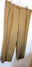 Brioni Mens Dress Pants 40x27 Beige solid 100% Wool pleated front