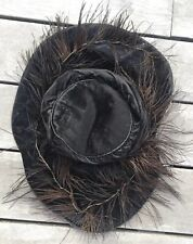 Antique Victorian Mourning Black Velvet Feather Hat