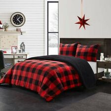 Rustic Cabin Black Red Plaid Buffalo Checker Plush 3 pcs King Queen Comforter