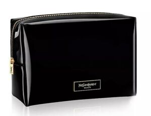 YSL YVES SAINT LAURENT Beaute Patent Black Squared Makeup Cosmetic Pouch Bag YSL