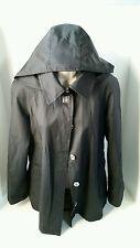 Hilary Radley Women's Black Raincoat Jacket Detachable Hood Size Small
