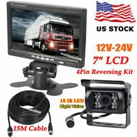 """4Pin 12V-24V 7"""" TFT LCD HD Monitor +Car Backup Camera for RV Truck Rear View Kit"""