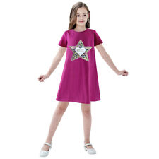 Sunny Fashion Girls Dress Cotton Casual Star Embroidered Violet Red Size 3-7