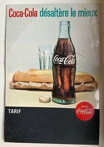 Ancienne plaque publicitaire glacoide Coca Cola vintage advertising bistrot bar