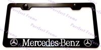 Mercedes Benz With LOGO  Black Stainless Steel License Plate Frame W/ Bolt Caps