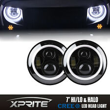 2X 7 Inch Round LED Headlights Halo Angle Eyes Hi/Lo for Jeep Wrangler JK LJ TJ