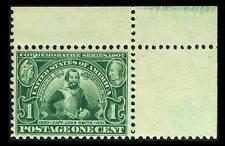 US #328; 1¢ JAMESTOWN, VF-OG-MNH, TOP RIGHT MARGIN, FRESH WITH STRONG COLOR