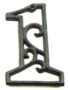 Ornate Cast Iron House Address Number 1 One Rustic Brown SPECIAL PRICE