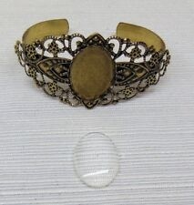 FILIGREE BRACELET CUFF Antique Brass Finish  with 25x18mm Oval Cabochon Setting