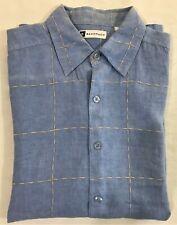 Bachrach Mens Button Front Hawaiian Short Sleeve Shirt Size L 100% Linen