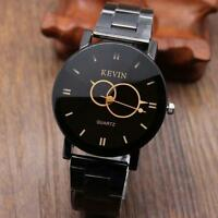 Fashion Design Black Stainless Steel Band Round Dial Quartz Wrist Watch Men Gift