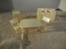 Vintage Marx Plastic Doll House Furniture White Kitchen Sink Counter Table Chair