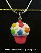 Polymer Clay Cupcake Necklace Kawaii Star Sprinkles Handmade Silver Steel Chain