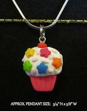 Polymer Clay Cupcake Necklace Kawaii Star Sprinkles Handmade Silver Steel Chain