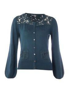 Dickins & Jones Black or Teal Wool Lace Yoke Cardigan S M L XL RRP £85 Free Ship