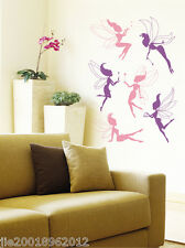 6PCS Large Fairies Removable Wall Art Stickers Kids Nursery Vinyl Decal Decor