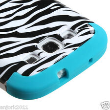 Samsung Galaxy S3 Hybrid T Armor Snap-On Hard Case Skin Cover White Zebra Blue