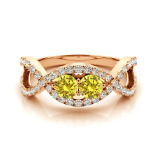 1.28 Carat Yellow VS2-SI1 Diamond Solitaire Engagement Ring 14k Rose Gold