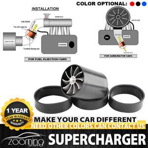 Black Supercharger Power Air Intake Turbonator Dual Fan Turbine Gas Fuel Saver