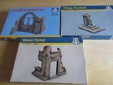3 x ITALERI Kit Model KIT CASE parti Church Village House Corner 1/35 OVP