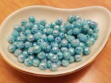 Vintage Rosebud Aqua Blue AB Luster Plastic Lucite Beads 8mm 144 pc pack