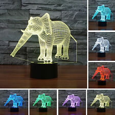 3D Elephant Illusion LED Night Lights Colorful-Bedroom Party Birthday Gifts Lamp