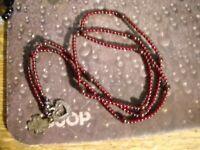 ~Silpada 925 Sterling Silver Garnet Lariat Heart/Cross Necklace~