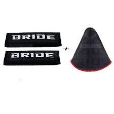 Racing Bride Black Hyper Fabric Shift Boot Shifter+Bride Suede Fabric Seat Belt