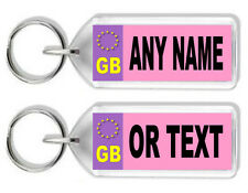 Personalised Pink / Purple Registration/Number Plate Keyring - Any Name/Text