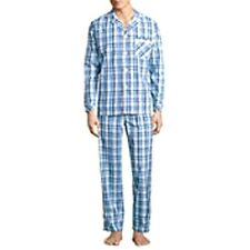 MENS AQUA & NAVY BLUE CHECK STAFFORD PAJAMAS SET SHIRT & SLEEP PANTS XLARGE NWT