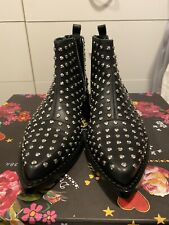 NEW Alexander McQueen CHAIN ANKLE BOOTS Moro Biker Black Silver Sz 36